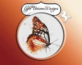 Brown Shades Butterfly Cross Stitch Pattern Instant Download