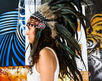 The Original - Real Feather Black Chief Indian Headdress Replica 75cm, Native American Style Costume Hand Made War Bonnet Hat