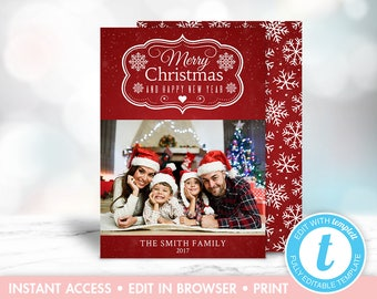 Red Snowflake Christmas Photo Card, Instant Download, Editable, Upload Your Own Photo, Template, Templett
