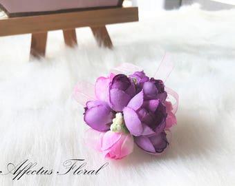 Purple corsage, purple bridesmaids corsges, small bridesmaid corsges