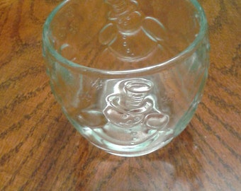 Clear glass / bowl with snowmen and snowflakes