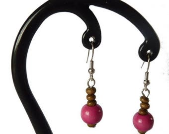 Pink and light brown wood earrings