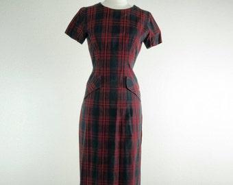 1950's Lucia // Plaid Bombshell Wiggle Dress
