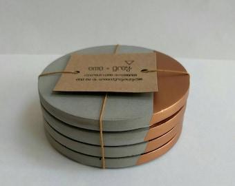 Concrete Coasters - Set of 4 Concrete Cement Coasters. Copper. concrete homeware