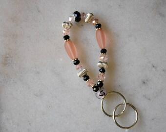 Pink and Black Wrist Keychain