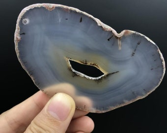 Natural Agate Geode Freeform Slab,Raw Grey Onyx Flat Nuggets Pendant,Druzy Gems Slices Handmade Jewelry