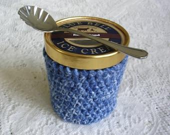 Pint Ice Cream Sleeve - Heather Blue Handmade Crochet Ice Cream Cozy - Blue Ice Cream Holder -Pint Size Cozy Cover - Housewarming Gift