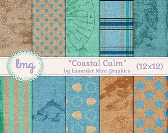 Coastal Digital Paper Pack, Beach Cottage, Coastal Cottage Chic, Coastal Calm, Beach Shabby Chic, Scrapbook Paper, Card Making Paper