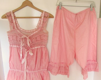Vintage Bubble Gum Pink Bloomers and Camisole Petticoat Buresque Pink Cotton Crochet Eyelet Lingerie