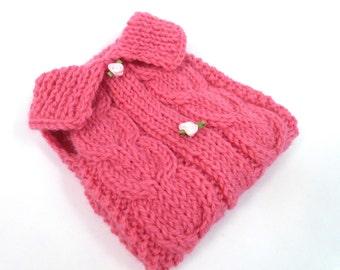 SHIPS TOMORROW -SALE  -  Size XSmall (12'') - 100% Wool -pink Dog Sweater- Hand Knit Dog Sweater