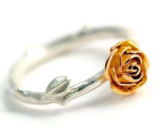 Red Gold Rose Engagement Ring - 18ct Eco Gold Flower Ring with Silver Band - Mixed Metal Flower Ring - Gift for Wife