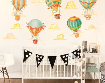 Up & Away Hot Air Balloon  Watercolor Wall Decal Kit - Hot Air Balloon Wall Decal by Chromantics
