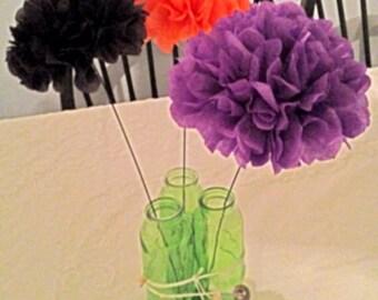 TISSUE POM FLOWERS / tissue paper pom poms - Set of 3 / Centerpiece, Birthday, Wedding decorations, Baby Shower, Bridal Shower, Table Decor