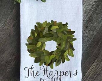 Farmhouse Tea Towel, Magnolia Wreath Flour Sack Towel, Anniversary gift, Wedding gift, Housewarming Gift, Farmhouse Kitchen