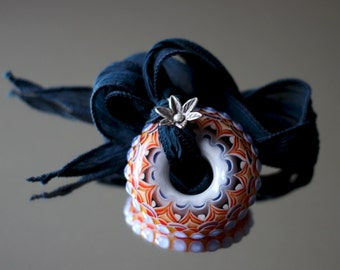 Jaffa lampwork wheel bead