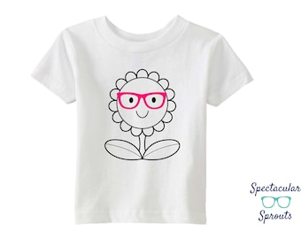 Flower With Glasses TShirt | Kids Glasses Shirt | Glasses Hipster Shirt | Summer Beach Wearing Glasses T Shirt | Personalized Clothing