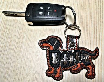 Embroidery Design Digitized Doxie Black and Tan Text Fill Keychain 4 x 4