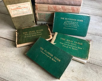 1916 Nature Guide Book Set, by Chester A Reed, Reference Northern America, Canada, East Of The Rockies, Bird, Butterfly, Trees, Flowers