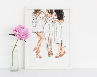 Summer Whites (Fashion Illustration Print) (Fashion Illustration Art - Fashion Sketch prints - Home Decor - Wall Decor )