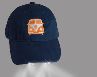 Navy Flashlight Hat with Classic Orange VW Bus~ Volkswagen Bus afa9d966878