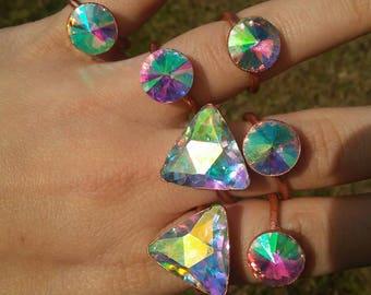 Rainbow rhinestone triangle ring.