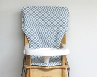 high chair cushion, eddie bauer wooden chair baby accessory replacement cushion, baby and child, jenny lind pad, blue and mocha