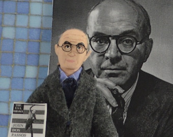 John Dos Passos,  Writer of American Literature,  Author Doll,  Miniature Sized Figurine