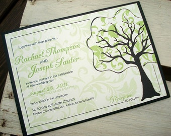 Damask TREE OF LOVE Original Illustration Wedding Invitation - Sample