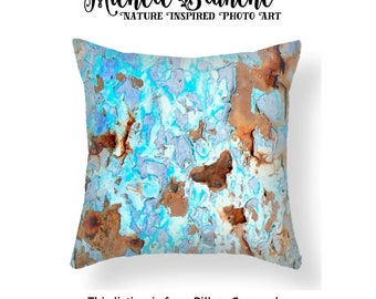Blue Rust Photo Pillow, Blues Peeling Paint toss Pillow, Industrial Rust Pillow Cover, Urban Art Decor, Edgy Blue Rust Throw Pillow Cover
