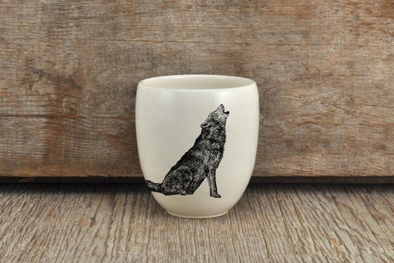 Handmade Porcelain coffee tumbler with wolf drawing Canadian Wildlife collection