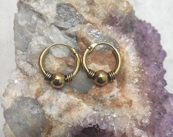 Brass tribal small hoop earrings