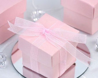 25x Blush Pink Square Favor Box With Ribbon 2x2 inches, pink Favor Boxes, Wedding favor box,romantic favor box, Bridal Shower Favor Box
