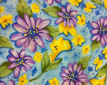 Cotton Fabric / Floral Cotton Fabric / A Quilt For All Seasons  / Summer / Quilting Fabric / Purple Cotton Fabric  / 1 Yard