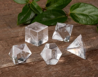 5 Piece Set QUARTZ CRYSTAL Platonic Solids - S or M - Sacred Geometry Quartz, Chakra Crystal, Meditation Crystal, Healing Crystal E0498