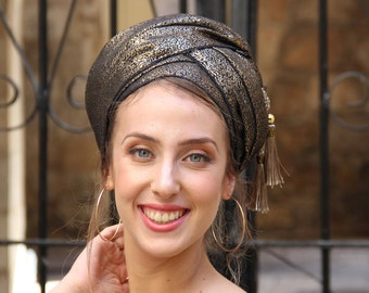 Nehorah Brocade Headscarf Gold Black TICHEL, Hair Snood, Head Scarf, Head Covering, Jewish Headcovering, Scarf, Bandana, Pashmina,