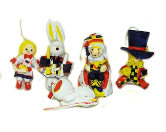 Five 1970s NOS Alice in Wonderland Papier Mache  Christmas Ornaments Taiwan