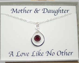 Gift for New Mother, Mothers Day Birthstone Necklace for Mom, Mothers Day from Daughter Infinity Necklace Sterling Silver January July Mom