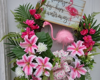 Pink Flamingo Wreath,Spring Wreaths, Tropical Spring Wreaths, Summer Wreaths, Front Door Decor, Whimsical Wreaths, Wreaths, Handmade Wreath