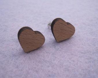 Wooden Earrings - Heart Studs