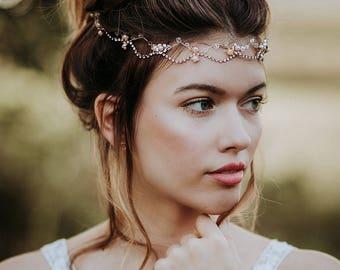 "Haarschmuck, Tiara, Gold Krone, Brautschmuck, Boho Haarband, Headpiece Style  ""Loreley"""
