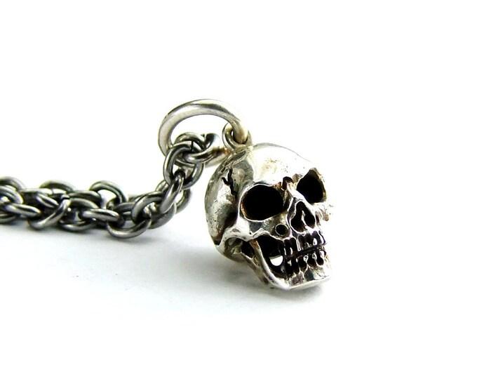 Skull Pendant, Gift For Him, Solid Sterling Skull, Long Steel Chain, Skull Necklace, Skull Pendant, Memento Mori Pendant, Mens Skull Chain