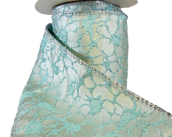 """Embroidered Flowers Aqua & Pearl Wired Ribbon  4"""" Wide"""