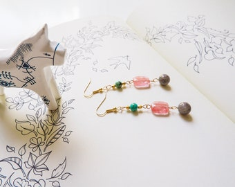 Multi colour, gemstone beaded, dangle  drop earrings, Turquoise, Cherry Quartz, Labradorite, Gold