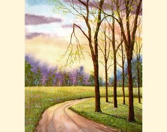 Aquarelle paysage peinture PRINT route printemps fleurs 4 quatre saisons arbres paysage coucher de soleil chemin de campagne forêt giclée de 7 x 10