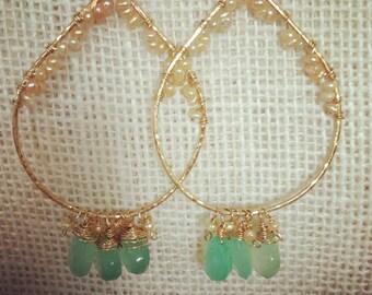 Aqua Chalcedony & Champagne Freshwater Pearl Earrings