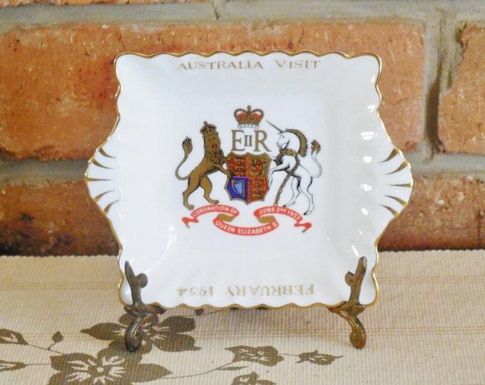 Featured listing image: 1954 Australia Royal Visit souvenirware, Crown Staffordshire square twin handled fine bone china dish