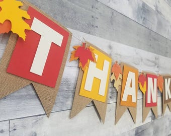 Thankful fall banner | Thanksgiving banner | Fall | Autumn | Fall leaves | Happy Fall y'all | burlap | Fall decor | Thanksgiving decor