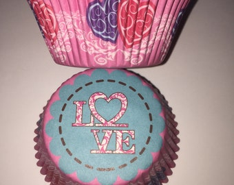 Hearts Love Cupcake Cases