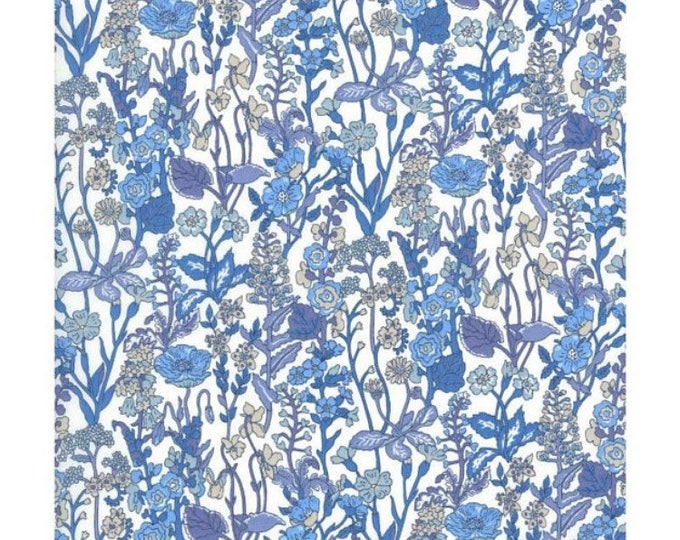 LIBERTY PRINT SHOELACES in adult and children's sizes - Flowers C  (blue)