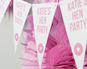 Personalised Hen Party Bunting // Party Decoration // Hen Party Bunting